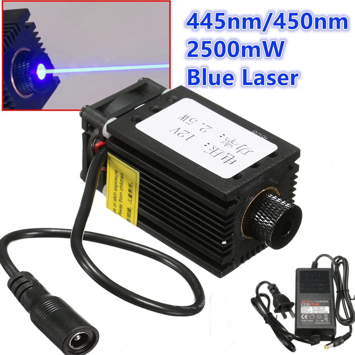 2.5W 2500mW 445nm 450nm Blue Laser Module For CNC Laser Engraving Machine With Adaptor 5w laser module ttl mini laser engraving machine 445nm 450nm blue laser head with adapter free goggles