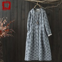 Forest Trees Print Cotton Long Sleeve Single Breasted Dress Mori Girl Autumn Winter