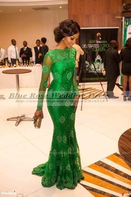 Senhorita Nigéria Mermaid Mangas Compridas Verde Lace Celebridade Do Tapete vermelho Inspirado Vestido de Noite Formal Vestidos de 2016