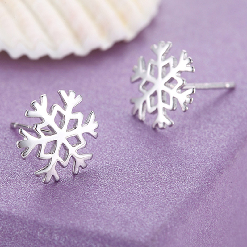 100 925 sterling silver fashion snowflake ladies stud earrings jewelry women female birthday gift drop shipping Anti allergy in Stud Earrings from Jewelry Accessories