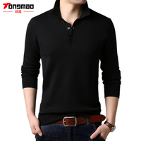 TONGMAO Casual Mens Sweaters Autumn Winter Long Sleeve Turn down Collar Mens Pullovers Solid Color Slim Fit Male Knitwear 6205