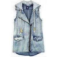 Summer Mid Long Denim Vest Womens Hooded Loose Sleeveless Jeans Jacket Letter Colete Feminino Streetwear Waistcoat
