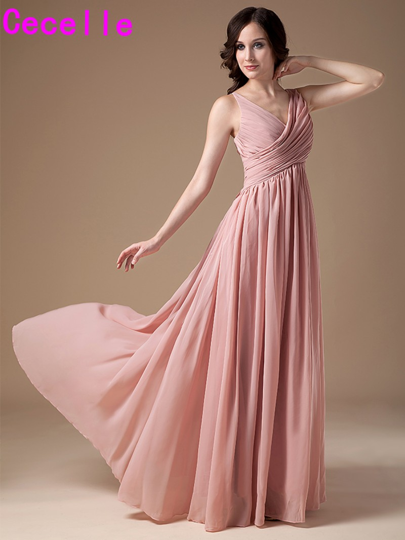 2017 dusty rose long bridesmaids dresses v neck sleeveless for Rose pink wedding dress