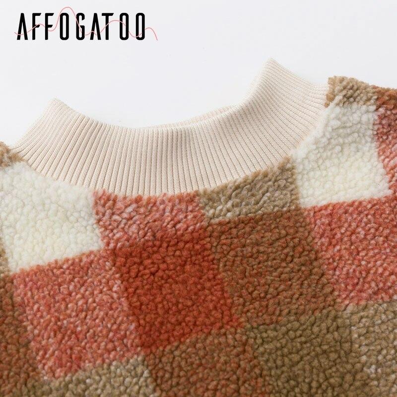 Affogatoo Casual O neck plaid lambswool hoodies sweatshirt women Vintage loose pullover sweatshirt Autumn winter ladies coats 8