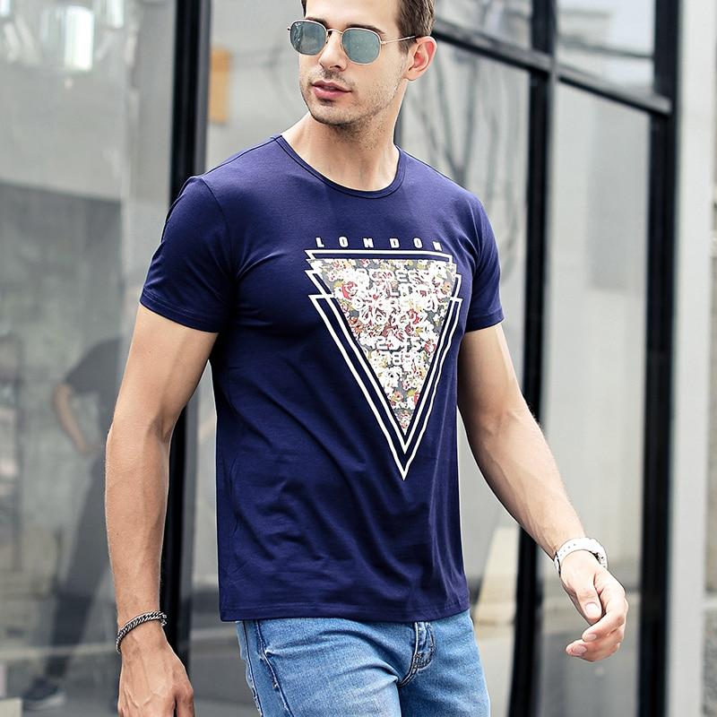 NIGRITY mens t shirt New Casual short sleeve o-neck Inverted triangle printed modal t-shirt men brand tee shirt big size M-4XL 64