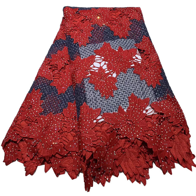 Free shipping (5yards/pc) high quality African lace fabric lots of stones fixed big cord lace fabric for party dress  FLA27