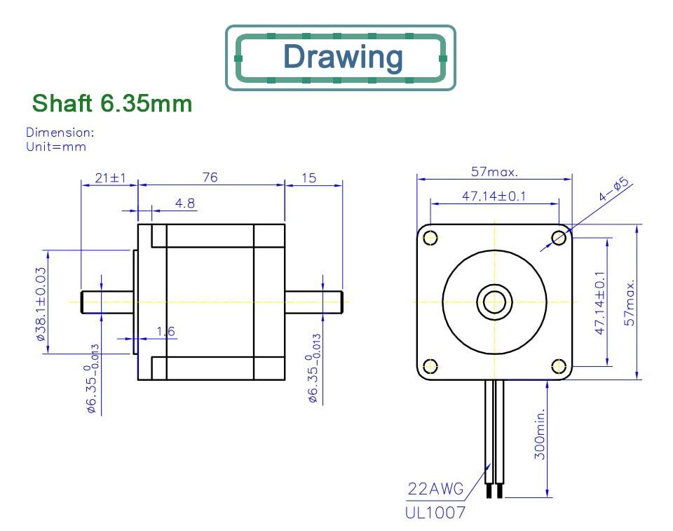 6.35 8mm motor de eixo duplo 3a