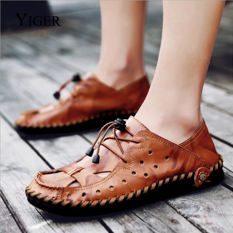YIGER New Men Sandals Genuine Leather Man Shoes Large Size Hole shoes - Men's Shoes - Photo 4
