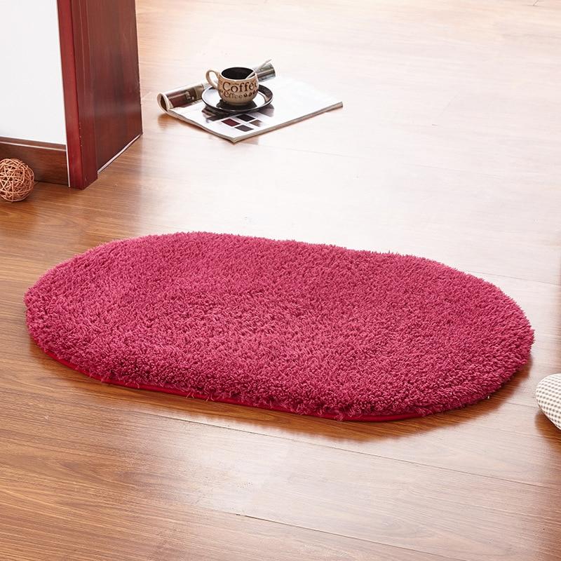 Valanorean Red Wine Color Oval Rug Carpet Living Room