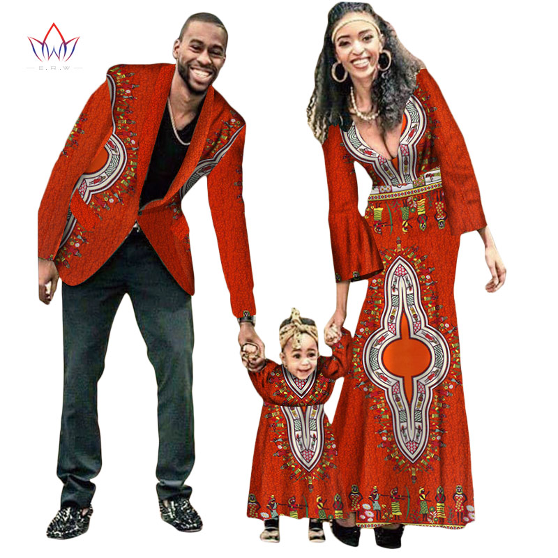 2018 Autumn New Fashion Matching Clothes Brand Father Mother And Son Baby Africa Clothing Vintage Sets Family Full Sleeve WYQ15