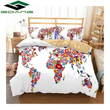 GOANG bedding set bed sheet duvet cover pillow case 3pcs queen size sheets 3d digital printing World Map home textile