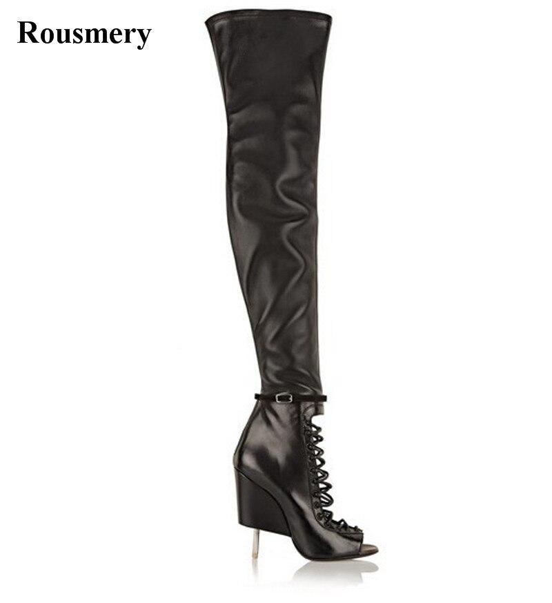Cut Bout De Femmes À Long Bottes Sur Gladiateur Stiletto Mode Unique Étrange out Noir En Cuir Design Genou Talon Ouvert rq1xXEa1w