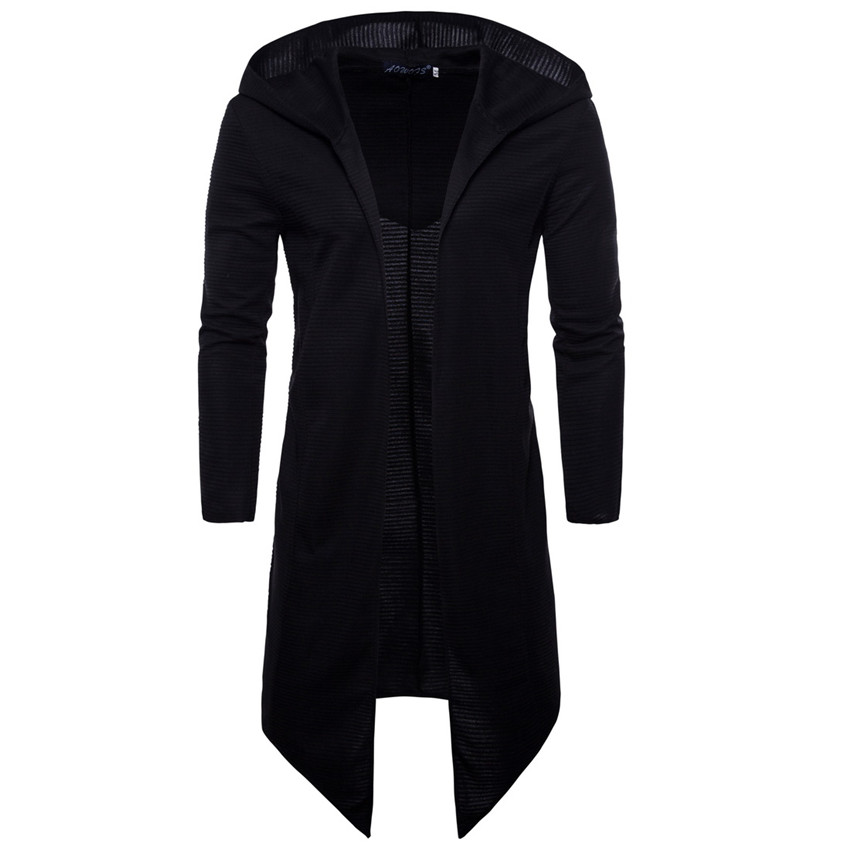 2020 Fall Male Hoodie Cloak Jackets Men Casual Long Section Hip Hop Cloak Hoodies Sweatshirt Men Coat Mantle Black Hoodie M-5XL
