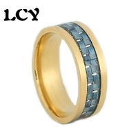 USA Size 6 To 12 Men Stainless Steel Rings 316L Blue Fiber Silver Wire Gold Plated