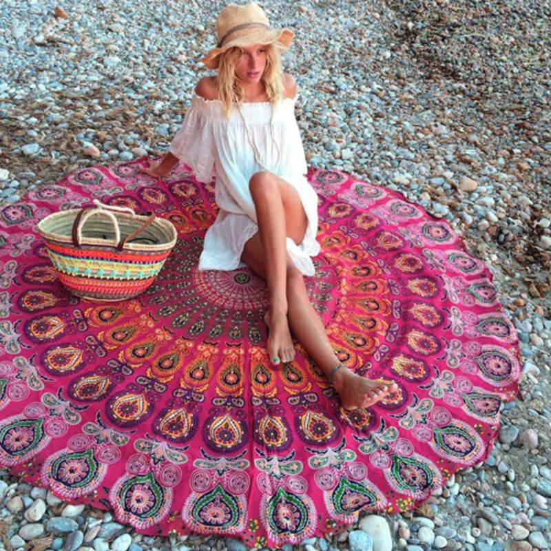 indian mandala round tapestry wall hanging beach throw towel yoga mat boho decorchina - Boho Decor