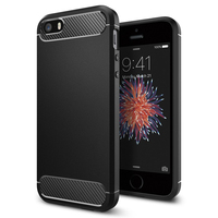 100 Original Korea Made Rugged Armor Carbon Fiber Textured Protective Case For IPhone SE 5s 5