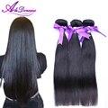 AliDoremi Cabelo reto malaio do cabelo, 3 bundles Malásia virgem cabelo liso 100g/bundle preto # 1B em linha reta cabelo humano tece