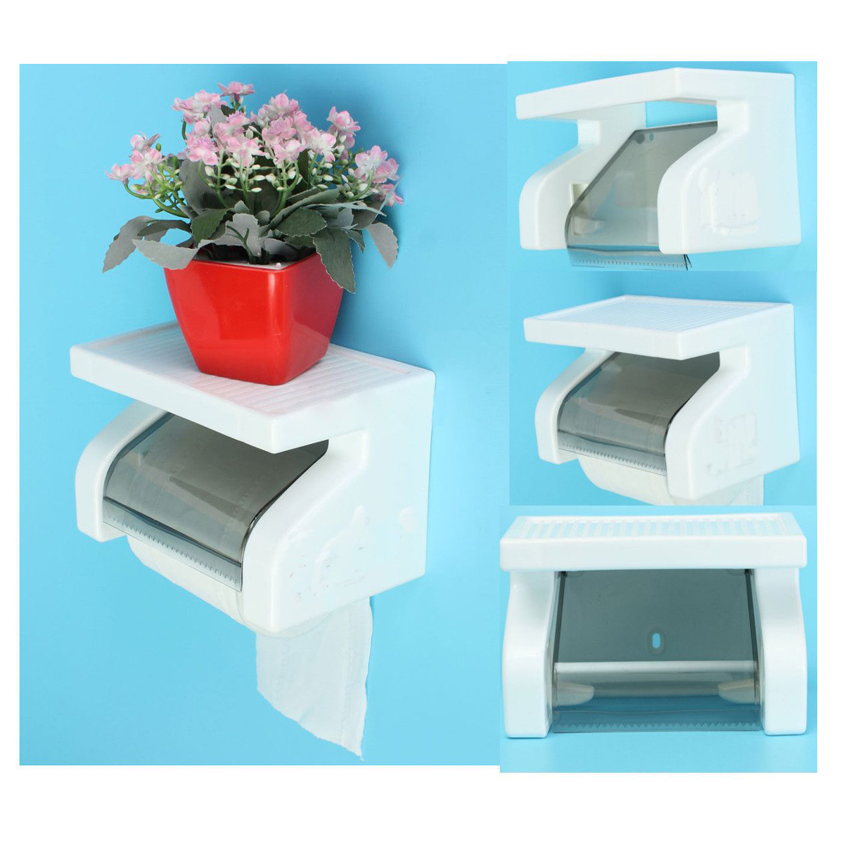 DSHA New Hot Waterproof Toilet Paper Holder Tissue Roll Stand Box with Shelf Rack Bathroom