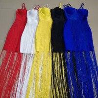 2018 new arrivals fringe party night out clubwear sexy spaghetti strap long dress women vestidos de fiesta tassel bandage dress