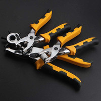 3 Pieces 3 in 1 Multi function Card Leather Belt Hole Punch +Eyelet Plier +Snap Button Setter Tool Kit Free Shipping