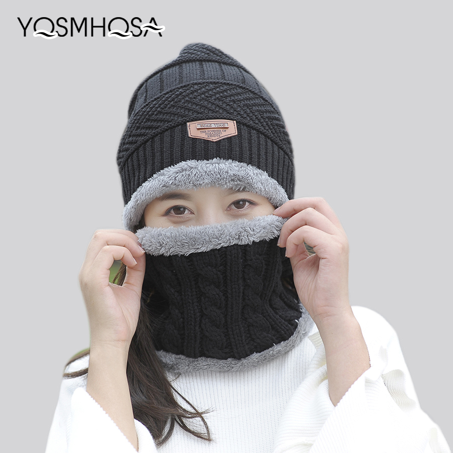 Knitting Balaclava Hat Scarf Set For Men Women's Hat Caps Knitted Warm Beanies Hats Ring Scarf Set Female Winter Sets WS019