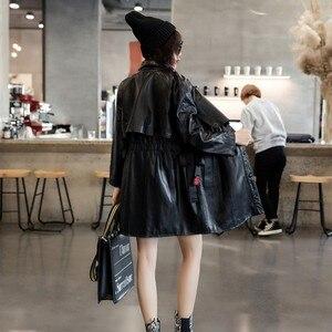 Image 3 - 2020 wiosna projektant elastyczna talia kożuch oryginalne prawdziwe skórzane długie kurtki kobiety dorywczo z długim rękawem kurtki skórzane Streetwear