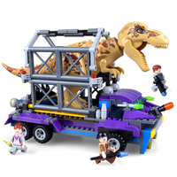 385pcs Jurassic World Arrested Dinosaur Tyrannosaurus Rex Tracker Model Building Kits Block Brick Toys Compatible With