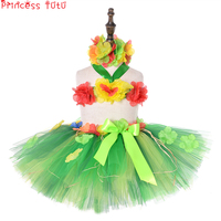 Fluffy Hula Girl Tutu 30cm Skirt&Top Kids Girl Hawaiian Holiday Beach Party Costume First Luau Birthday Outfit One Size For 2 8Y