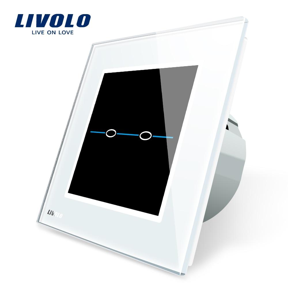 Free Shipping Livolo EU Standard VL C702 SR1 White Crystal Glass Panel Wall Light Touch Screen