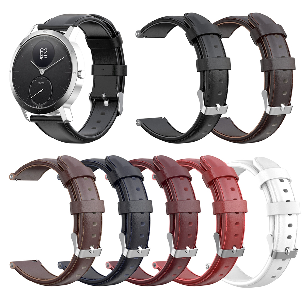 18mm 20mm Watch Band Strap for Nokia STEEL HR 36MM 40MM Smart Watch Genuine Leather Watchband Bracelet Quick Release Wrist Strap title=