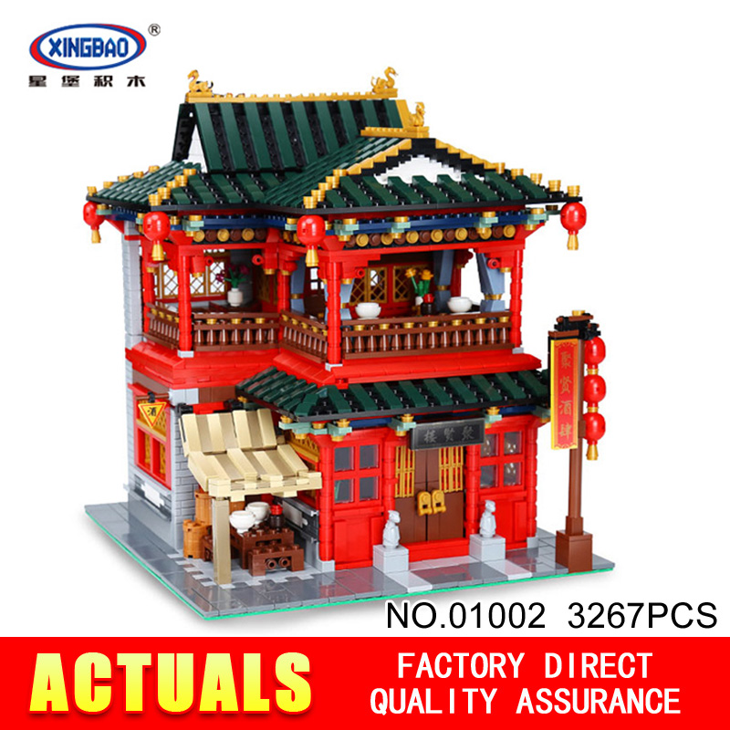 Xingbao 01002 3267Pcs Creative MOC Series The Beautiful Tavern Set Children Educational Building Blocks Bricks Toys Model Gifts xingbao 01001 creative chinese style the chinese silk and satin store 2787pcs set educational building blocks bricks toys model