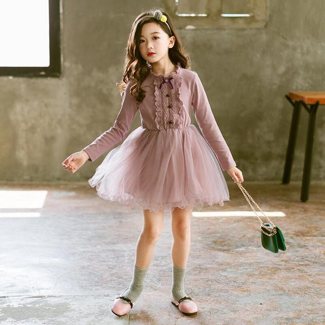 5a1ad6437 2019 primavera otoño bebé encaje vestido de niña de niño ropa traje niños  vestidos para niñas