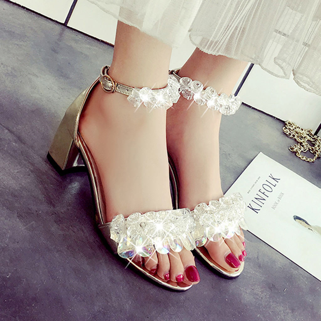 SAGACE 2019 New Fashion Women' High-quality Crystal Open-Toe Chunky Heels Buckle Strap Female Shoes Summer Zapatos de mujer Jul3(China)