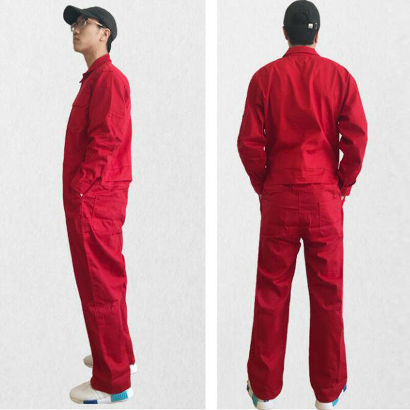 Mens Coverall Overall Boilersuit Mechanic Protective One-piece Workwear Jumpsuit Electric Welding Cotton