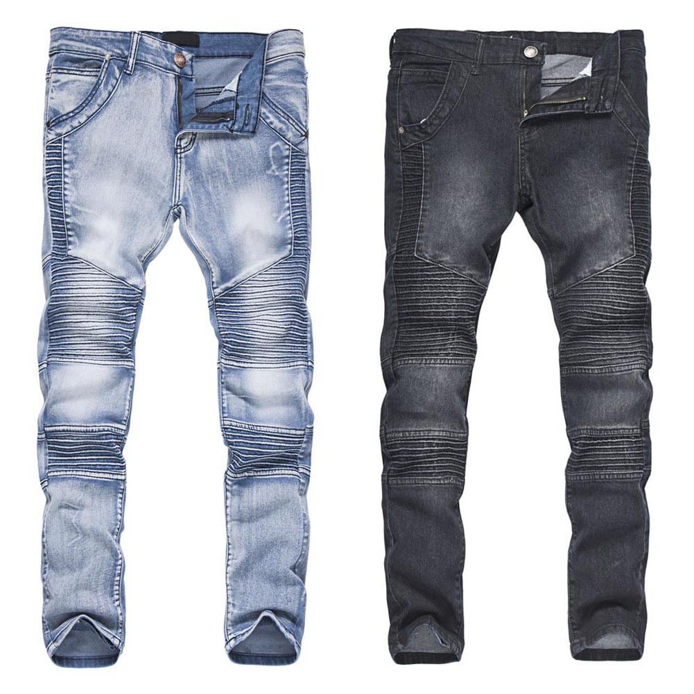 Fashion Men Streetwear Jeans Pants Ripped Pleated Skinny Slim Fit Long Pencil Trousers H9
