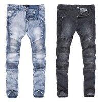 Mode Männer Streetwear Jeans Hosen Zerrissenen Falten Skinny Slim Fit Lange Bleistifthose H9