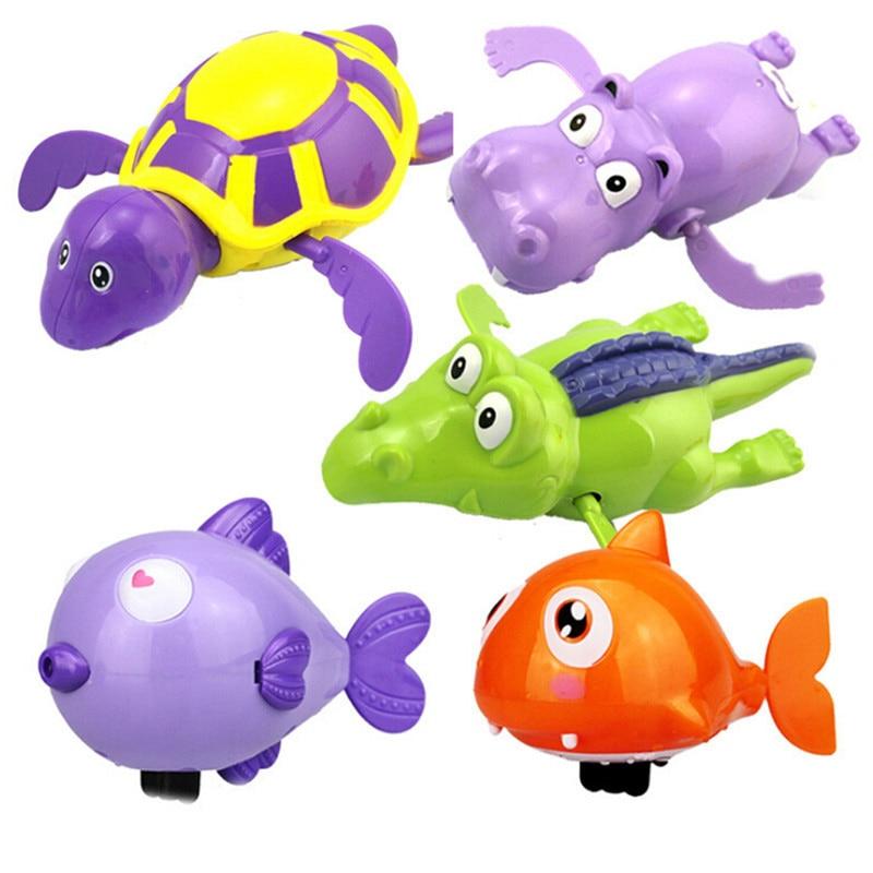 Newborn Swimming Toys Cartoon Animal Tortoise Crocodile Baby Bath Toy Infant Swim Plastic Wind Up River Toys Kid Educational