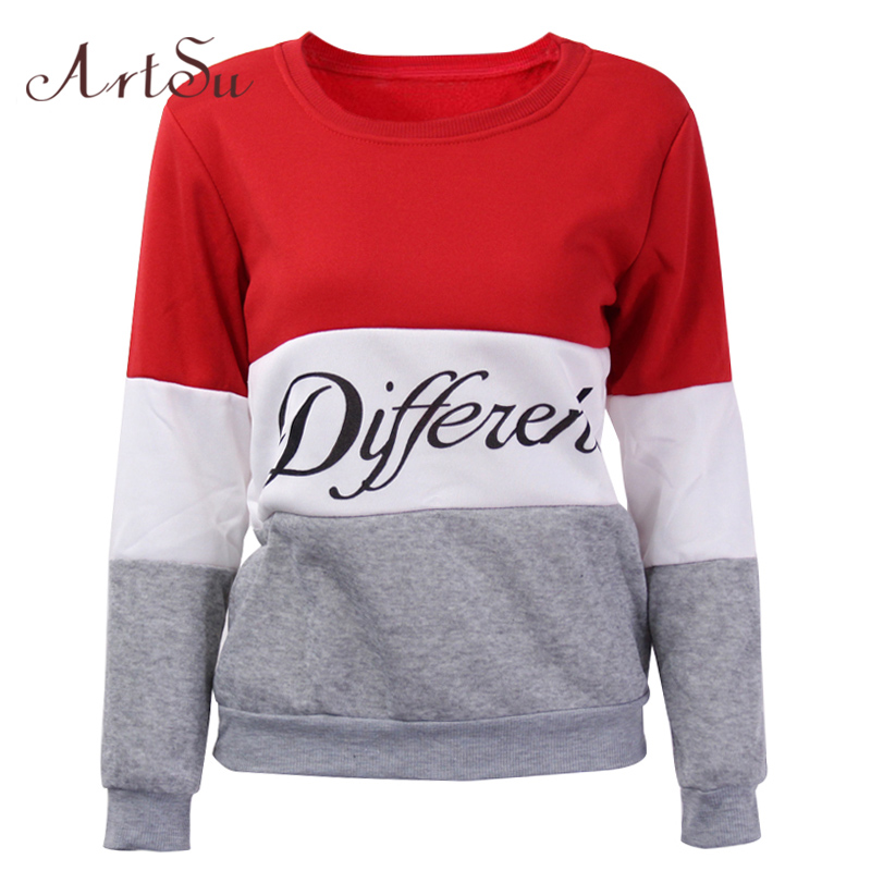 ArtSu Herfst Winter Dames sweater Gedrukt Letters Gedrukt in - Dameskleding