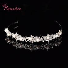 2016 Flower Crystal Rhinestone boda de la perla accesorios corona Tiara del pelo de la joyería de lujo de la novia del partido diadema de plata RE105