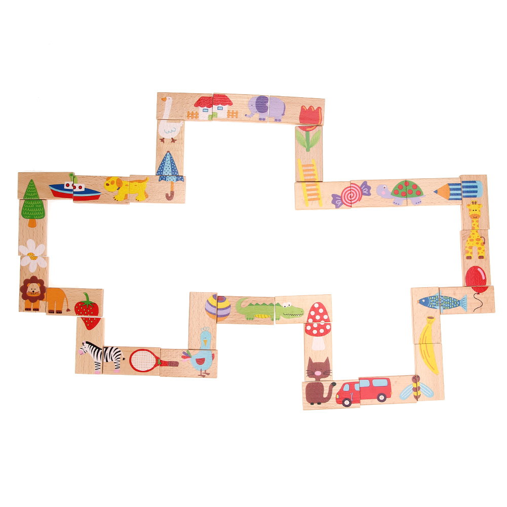 28pcs/set Wooden Dominoes Block Cartoon Animal Colored Jigsaw Tangram Montessori Educational Baby Toys Cute Funny Kids Games 32 pcs setcolor changed diy jigsaw toys wooden children educational toys baby play tive junior tangram learning set