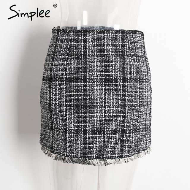 Simplee Sexy asymmetrical plaid skirts women Elegant tassels high waist skirt Cool streetwear woolen short skirt 2017