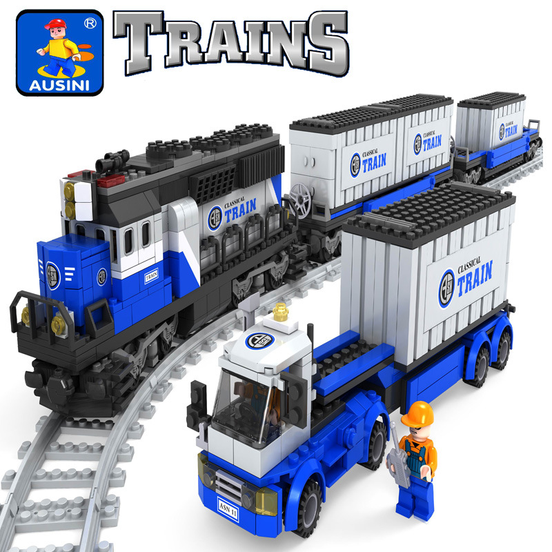 Ausini model building kits compatible with lego city train 647 3D blocks Educational model & building toys hobbies for children дорожка 900 1500мм