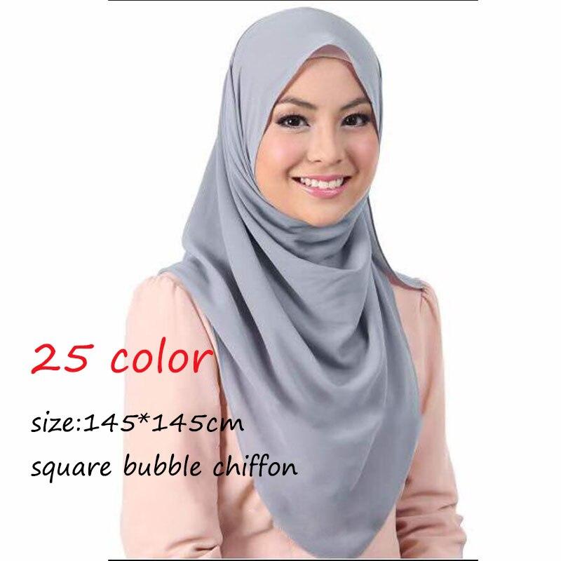 LMLAVEN Square Plain Bubble Chiffon Scarf Muslim Hijab Women Head Scarves Solid Color Headband Wrap Shawl 25 Color 145*145cm