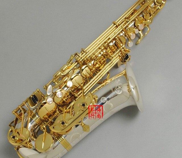 Tout nouveau A-WO37 Saxophone Alto clé en or nickelé embout saxo professionnel avec étui et accessoires