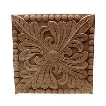 VZLX SALE Rubber Wood Carved Corner Onlay Applique Furniture Vintage Home Decoration Accessories Door Decor DIY Wooden Letters