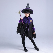 Children Halloween Constume Cosplay Clothing Witch Set (Hat+Dress) Bat Dress Little Devil Night Party Fancy Dress Carnival V001