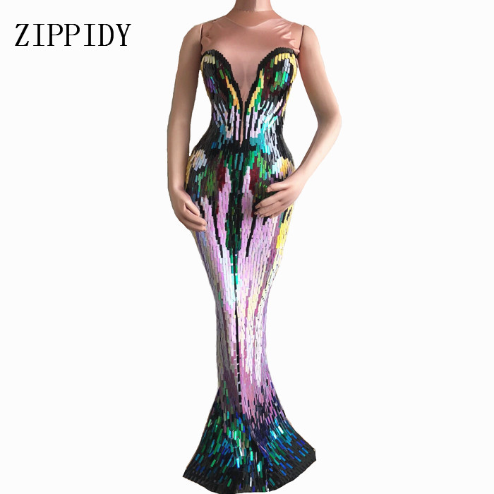 Colorful Sequins Long Dress Women s Evening Party Wear Luxurious Stretch Dress Prom Birthday Celebrate Female