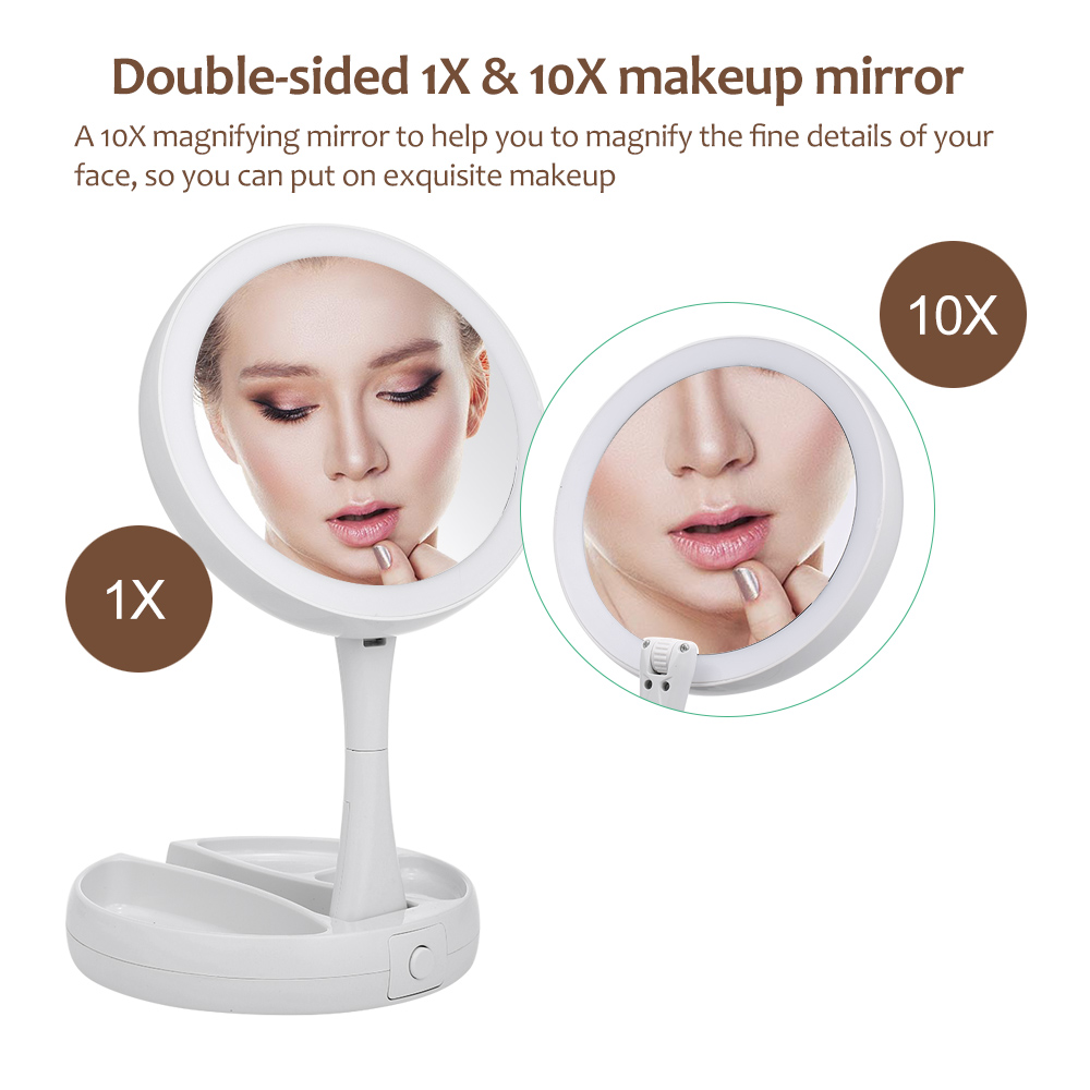 Abody Mirror LED Lighted Makeup Mirror Adjustable Stand Desk Tri-fold with Storage Box Organizer 10X Magnifying mirror Gifts