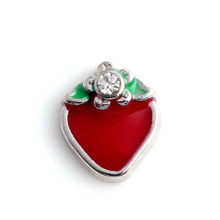 Free Shipping, 20pcs Alloy Strawberry with one Rhinestone Floating Charms Fit For Lockets, Gifts