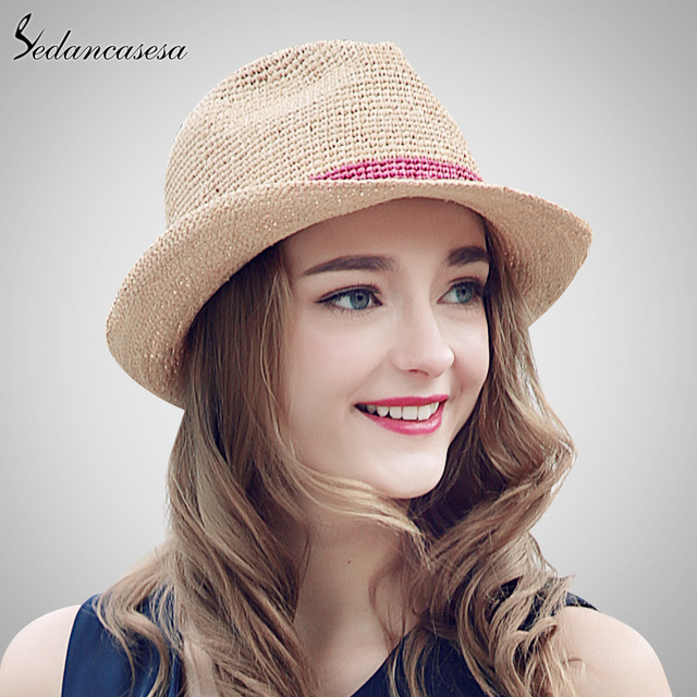 Sedancasesa Summer Hats Raffia Straw Hat for Women Beach Fedoras Casual  Panama Sun Hats Jazz Caps 31bf886a085e